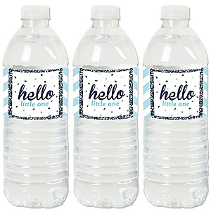 Hello Little One - Blue and Silver - Boy Baby Shower Water Bottle Sticker Labels - Set of 20