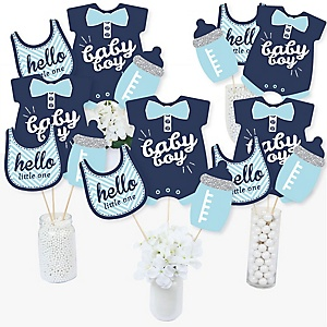 Hello Little One - Blue and Silver - Boy Baby Shower Party Centerpiece Sticks - Table Toppers - Set of 15