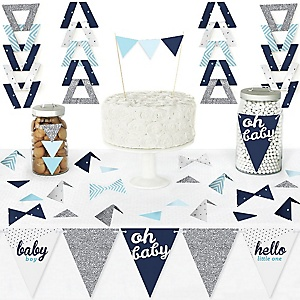 Hello Little One - Blue and Silver - DIY Pennant Banner Decorations - Boy Baby Shower Triangle Kit - 99 Pieces