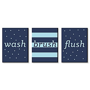 Boy - Blue and Navy - Kids Bathroom Rules Wall Art - 7.5 x 10 inches - Set of 3 Signs - Wash, Brush, Flush