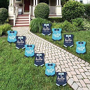 Hello Little One - Blue and Navy - Baby Bodysuit Lawn Decorations - Outdoor Boy Baby Shower Yard Decorations - 10 Piece