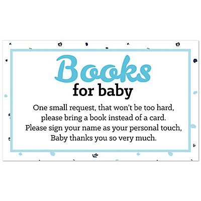 Hello Little One U2013 Blue And Silver   Boy Baby Shower Book Instead Of Card  Request Insert U2013 Set Of 18   BigDotOfHappiness.com