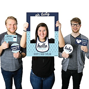 Hello Little One - Blue and Silver - Personalized Boy Baby Shower Selfie Photo Booth Picture Frame & Props - Printed on Sturdy Material