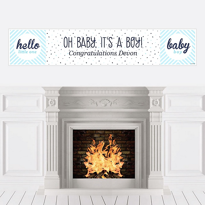 Hello Little One - Blue and Silver - Personalized Boy Baby Shower Banners