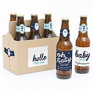 Hello Little One - Blue and Silver - Six Beer Bottle Label Stickers and 1 Carrier - Boy Baby Gift
