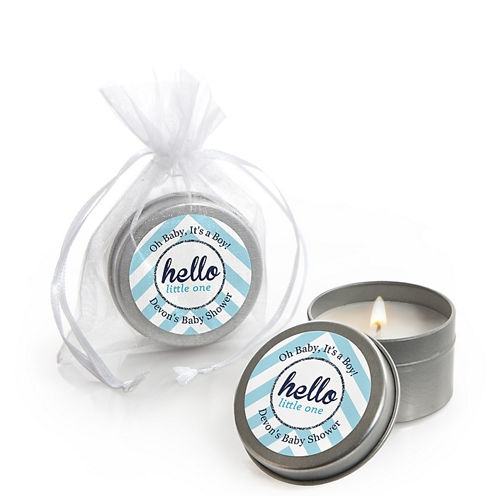 Hello Little One - Blue and Silver - Personalized Boy Baby Shower Candle Tin Favors - Set of 12