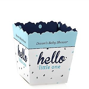 Hello Little One - Blue and Silver - Party Mini Favor Boxes - Personalized Boy Baby Shower Treat Candy Boxes - Set of 12