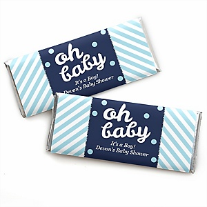 Hello Little One - Blue and Silver - Personalized Candy Bar Wrappers Boy Baby Shower Favors - Set of 24