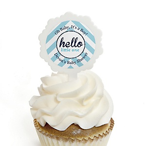 Hello Little One - Blue and Silver - 12 Cupcake Picks & 24 Personalized Stickers - Boy Baby Shower Cupcake Toppers