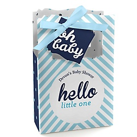 Hello Little One - Blue and Silver - Personalized Boy Baby Shower Favor Boxes - Set of 12