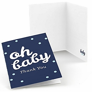 Hello Little One - Blue and Silver - Boy Baby Shower Thank You Cards - 8 ct