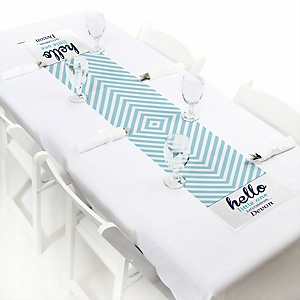 Hello Little One - Blue and Silver - Personalized Boy Baby Shower Petite Table Runner