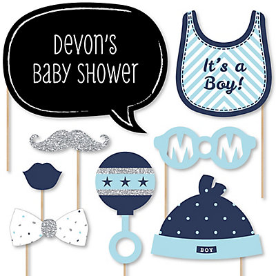 Hello Little One   Blue And Silver   Boy Baby Shower Photo Booth Props Kit    20 Props
