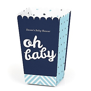 Hello Little One - Blue and Silver - Personalized Boy Baby Shower Popcorn Favor Treat Boxes - Set of 12