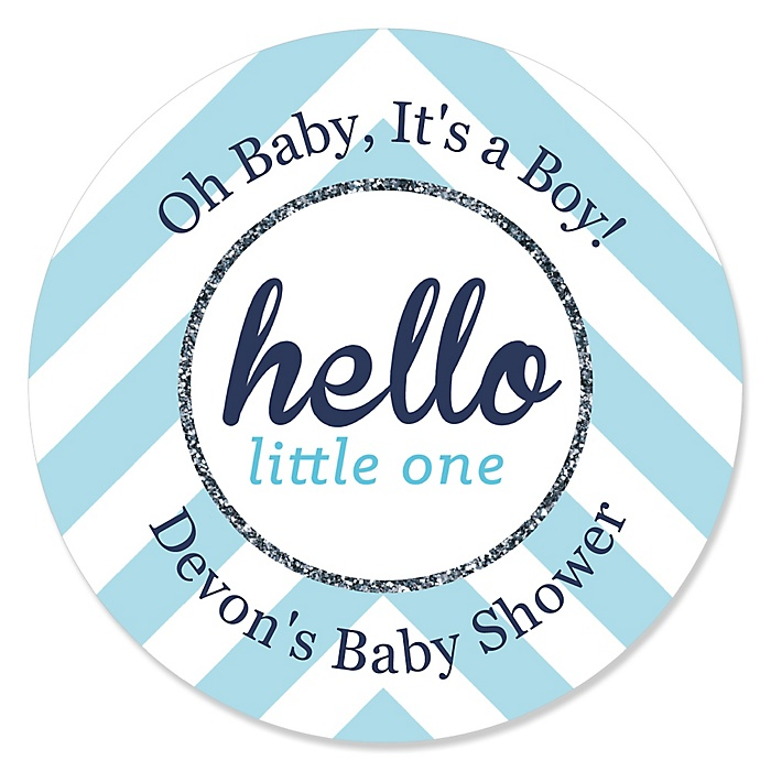 Hello Little One - Blue and Silver - Personalized Boy Baby Shower Sticker Labels - 24 ct