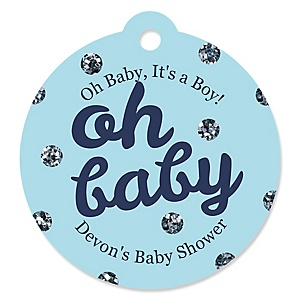 Hello Little One - Blue and Silver - Personalized Boy Baby Shower Tags - 20 ct