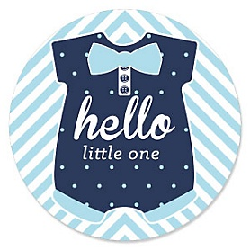 Hello Little One - Blue and Silver - Boy Baby Shower Theme