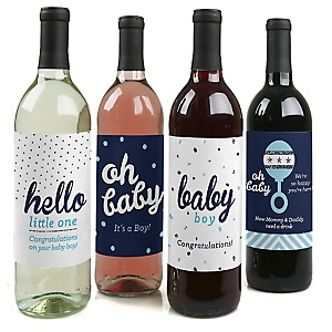 Hello Little One - Blue and Silver - Decorations for Women and Men - Wine Bottle Labels Boy Baby Gift - Set of 4