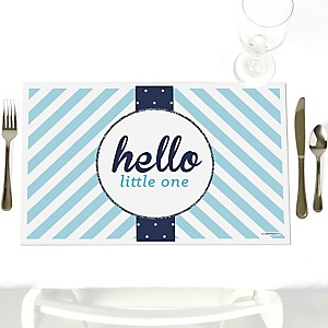 Hello Little One - Blue and Silver - Party Table Decorations - Boy Baby Shower Placemats - Set of 12
