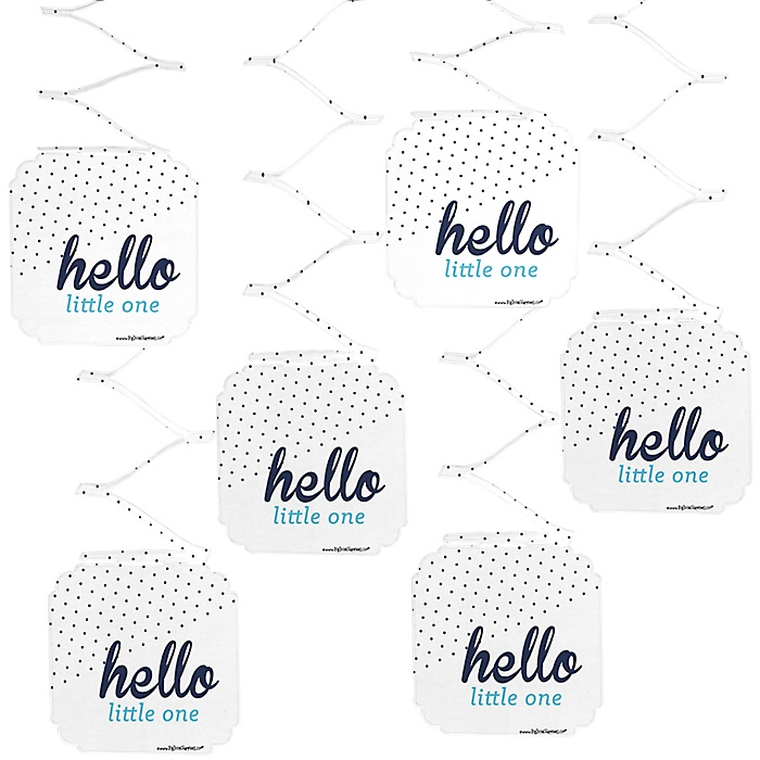 Hello Little One - Blue and Silver - Boy Baby Shower Hanging Decorations - 6 ct