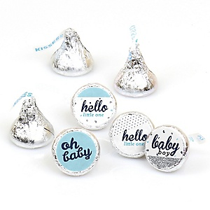 Hello Little One - Blue and Silver - Round Candy Labels Party Favors - Fits Hershey's Kisses - 108 ct