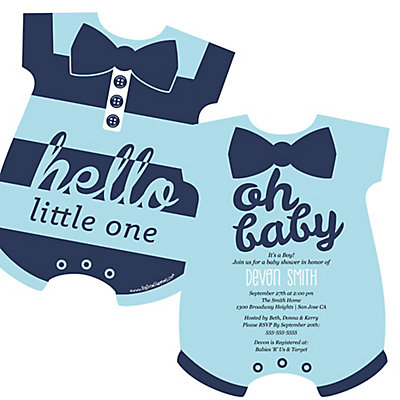 Hello little one blue and silver baby bodysuit shaped for Baby shower boy invitation templates free