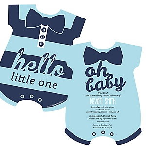 Hello Little One - Blue and Navy - Baby Bodysuit Shaped Boy Baby Shower Invitations - Set of 12