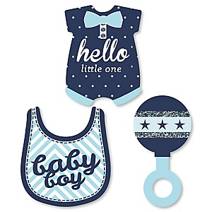Hello Little One - Blue and Silver - DIY Shaped Boy Baby Shower Paper Cut-Outs - 24 ct