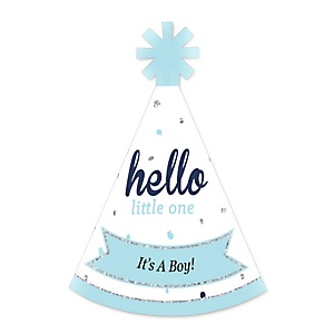 Hello Little One - Blue and Silver - Personalized Mini Cone Baby Shower Party Hats - Small Little Party Hats - Set of 10