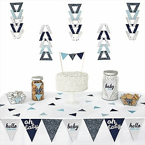 Hello Little One - Blue and Silver -  Triangle Boy Baby Shower Decoration Kit - 72 Piece