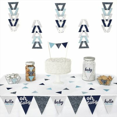 hello little one blue and silver 72 piece triangle boy baby shower decoration kit