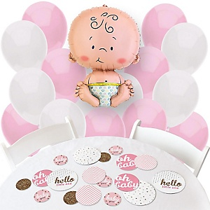 Hello Little One - Pink and Gold - Confetti and Balloon Party Decorations - Combo Kit