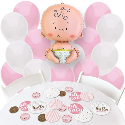 Hello Little One   Pink And Gold   Confetti And Balloon Party Decorations    Combo Kit