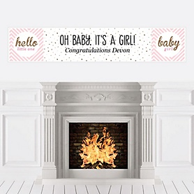 Hello Little One - Pink and Gold - Personalized Girl Baby Shower Banners