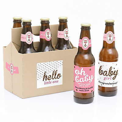 Hello Little One   Pink And Gold   6 Beer Bottle Labels And 1 Carrier    Girl Baby Gift