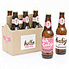 Hello Little One - Pink and Gold - 6 Beer Bottle Labels and 1 Carrier - Girl Baby Gift