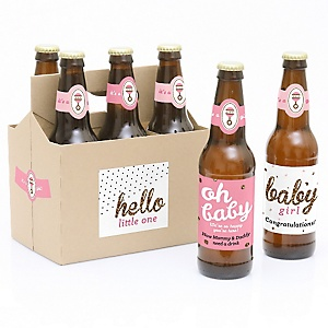 Hello Little One - Pink and Gold - Decorations for Women and Men - 6 Beer Bottle Labels and 1 Carrier - Girl Baby Gift