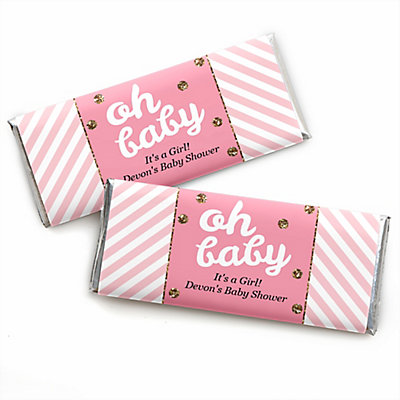 Hello Little One   Pink And Gold   Personalized Baby Shower Candy Bar  Wrapper Favors | BigDotOfHappiness.com