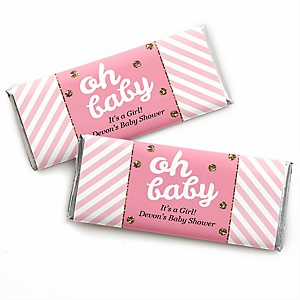 Hello Little One - Pink and Gold - Personalized Candy Bar Wrappers Girl Baby Shower Favors - Set of 24