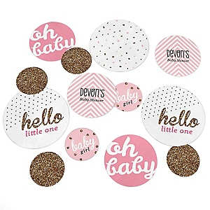 Hello Little One - Pink and Gold - Personalized Girl Baby Shower Giant Circle Confetti - Baby Shower Decorations - Large Confetti 27 Count