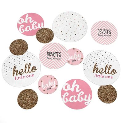 Hello Little One   Pink And Gold   Personalized Girl Baby Shower Giant  Circle Confetti   Baby Shower Decorations   Large Confetti 27 Count