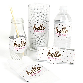 Hello Little One - Pink and Gold - DIY Girl Baby Shower Wrappers - 15 ct