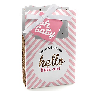 Hello Little One - Pink and Gold - Personalized Girl Baby Shower Favor Boxes - Set of 12
