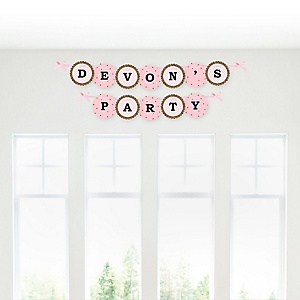 Hello Little One - Pink and Gold - Personalized Girl Baby Shower Garland Letter Banners