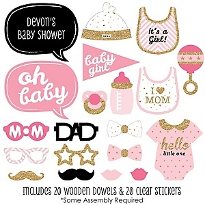 Hello Little One - Pink and Gold - Girl Baby Shower Photo Booth Props Kit - 20 Props