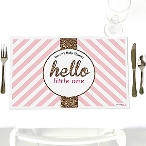 Hello Little One - Pink and Gold - Personalized Girl Baby Shower Placemats