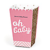 Hello Little One - Pink and Gold - Personalized Girl Baby Shower Popcorn Favor Treat Boxes - Set of 12