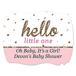 Hello Little One - Pink and Gold - Personalized Girl Baby Shower Squiggle Stickers - 16 ct