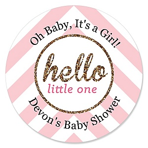 Hello Little One - Pink and Gold - Personalized Girl Baby Shower Sticker Labels - 24 ct