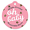 Hello Little One - Pink and Gold - Personalized Girl Baby Shower Tags - 20 ct
